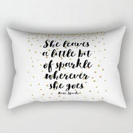 Nursery Girls Decor,Quote Prints,She Leaves A Little Bit Of Sparkle Wherever She Goes,Girly Art Rectangular Pillow