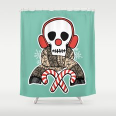 Stay Warm Holiday Skull Shower Curtain