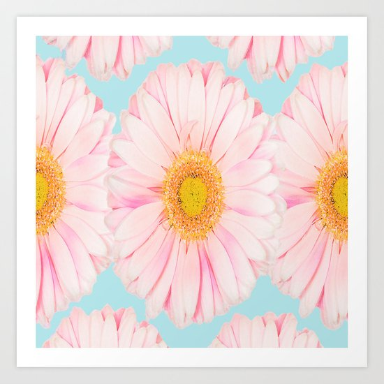 Pink summer flowers on a turquoise background - summer mood Art Print