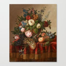 Louis Vidal, Still Life with Flowers and Fruit Canvas Print