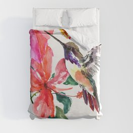 Hummingbird and Hibiscus, tropical Hibiscus design Duvet Cover