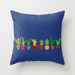 Cactus in blue Throw Pillow