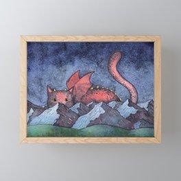 Dragon Cat Watercolor Framed Mini Art Print