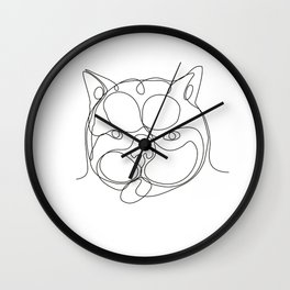 French Bulldog Head Continuous Line Wall Clock