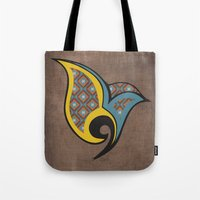 persian Tote Bags featuring Persian Bird by Katayoon Photography