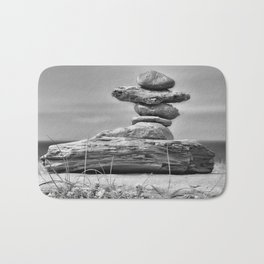 The Cairn in Black and White Bath Mat