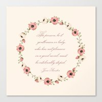 jane austen Canvas Prints featuring Jane Austen Quote by Patty Marq