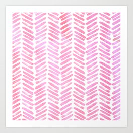 Handpainted Chevron pattern - pink and pink ;) Art Print