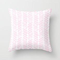 Handpainted Chevron pattern light pink stripes Throw Pillow