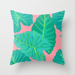 Giant Elephant Ear Leaves in Peachy Coral Throw Pillow