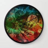 secret life Wall Clocks featuring The Secret Life of Plankton by Klara Acel