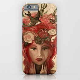 red haired green eyed Crimson Fairy with flowers butterflies and birds portrait iPhone Case