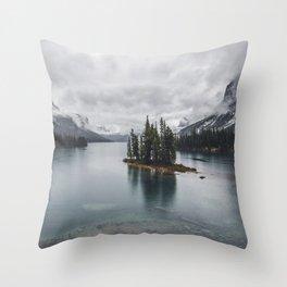 Maligne Lake Jasper Alberta Throw Pillow