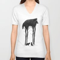 wolf V-neck T-shirts featuring Standing Tall by Dan Burgess