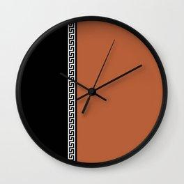 Greek Key 2 - Brown and Black Wall Clock