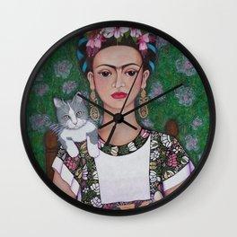 Frida cat lover Wall Clock