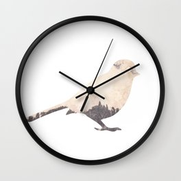 pink sky bird with trees Wall Clock