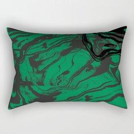 Suminagashi marble malachite green marbled pattern spilled ink abstract art Rectangular Pillow
