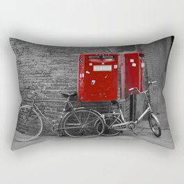 Red Letter Boxes of Bologna Black and White Photography Rectangular Pillow