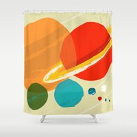 planets Shower Curtains featuring The planets by andy fielding