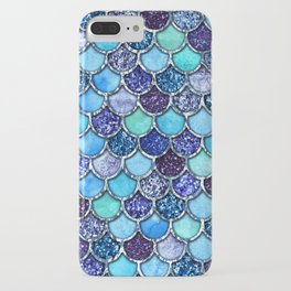 Colorful Teal & Blue Watercolor & Glitter Mermaid Scales iPhone Case