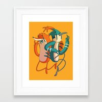 regular show Framed Art Prints featuring Mordecai & Rigby // Regular Show by Daniel Mackey