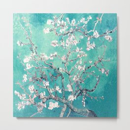 Vincent Van Gogh Almond Blossoms Turquoise Metal Print