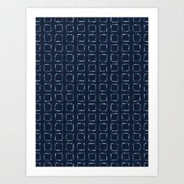 Hand Drawn Squared Check Pattern Indigo Art Print