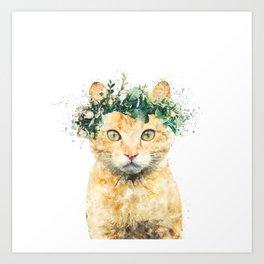 Boho Watercolor Cat, Cat Lady, Plant Lady, Funny cute Cat, home decor, nursery animal wall art Art Print