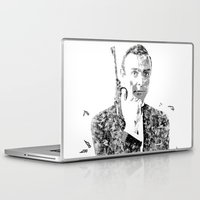 james bond Laptop & iPad Skins featuring James Bond Sean Connery Text Portrait by Mike Clements