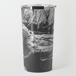 American Alligators Black and White Photography Travel Mug