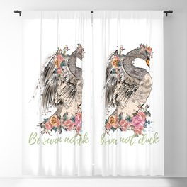 Be swan not a duck. Fashion trendy design with bird in rose flowers, conceptual art print Blackout Curtain