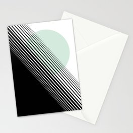 Rising Sun Minimal Japanese Abstract White Black Mint Green Stationery Cards