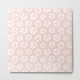 Sand Dollars Sea Urchin in Blush Pink Metal Print