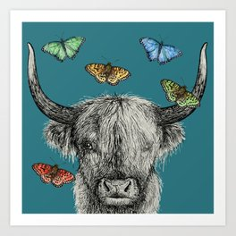 Heather the Highland Cow, Butterflies, pen and ink illustrations, blue Art Print