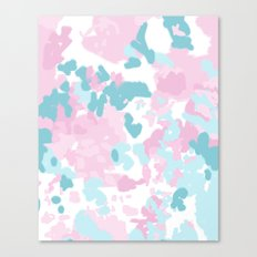 Cruz - abstract painting pastel pink and blue minimal modern decor for office home Canvas Print