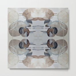 Linen Taupe Grey Shape Overlap Metal Print