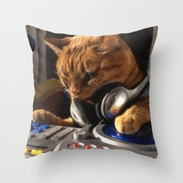 DJ Cat Throw Pillow