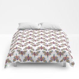 Watercolor Rainbow Cicada Vector Comforters