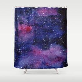 Watercolor Galaxy Nebula Pink Purple Sky Stars Shower Curtain