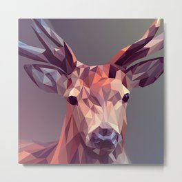 Colorful Polygons Abstract Deer Metal Print