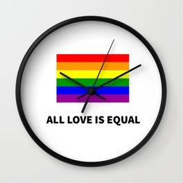 ALL LOVE IS EQUAL - Rainbow LGBT Flag Wall Clock