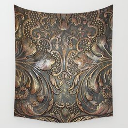 Golden Brown Carved Tooled Leather Wall Tapestry