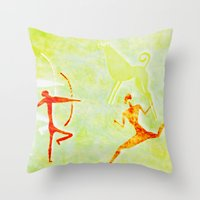 hunting Throw Pillows featuring Hunting by LoRo  Art & Pictures