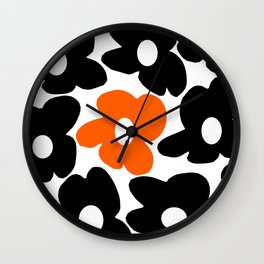 Large Orange and Black Retro Flowers White Background #decor #society6 #buyart Wall Clock