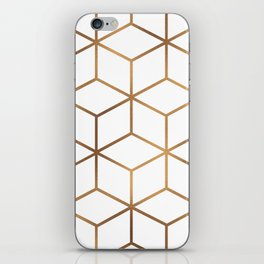 White and Gold - Geometric Cube Design iPhone Skin