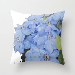 Blue Clematis Flowers on Knotted Fence Post Throw Pillow