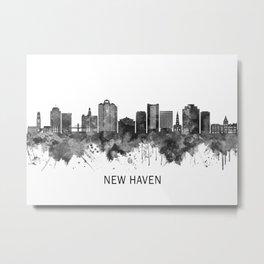New Haven Connecticut Skyline BW Metal Print