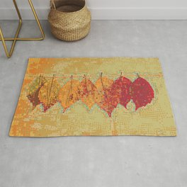 Abstract Dots Dried Leaves Rug