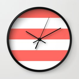 Wide Horizontal Stripes - White and Pastel Red Wall Clock